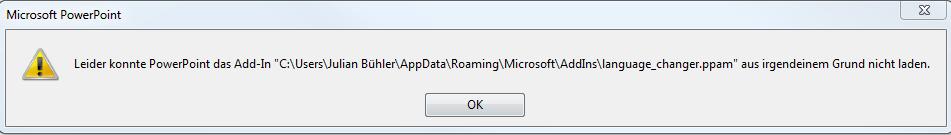 MS Powerpoint 2016 Fehlermeldung